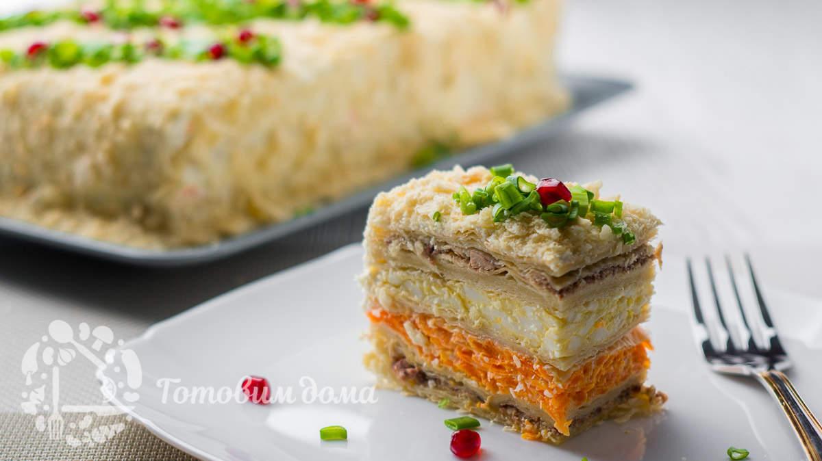 Праздничный закусочный торт «Наполеон»