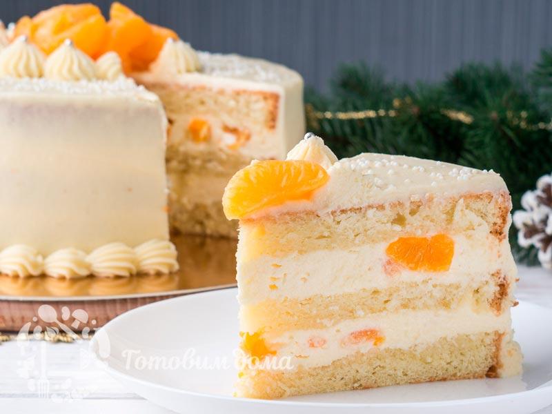 Нежный торт с кремом пломбир и мандаринами