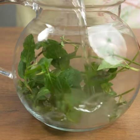 Сначала готовим виноградный слой. Для него нам понадобится чай из мяты. 5-6 веточек мяты кладем в чайник и заливаем кипятком.