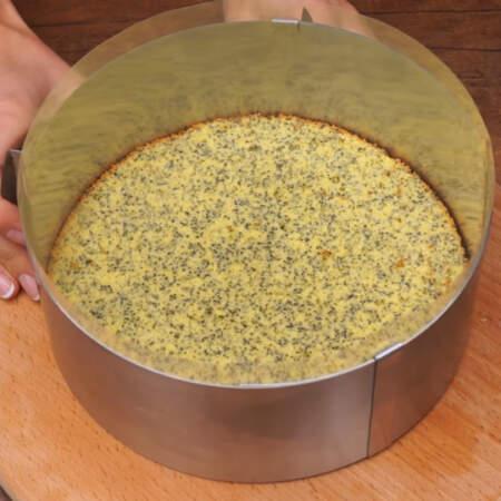 Кладем первый корж в кольцо и по бокам ставим ацетатную пленку. Вместо нее можно использовать пергаментную бумагу. Сжимаем кулинарное кольцо до размера коржа.