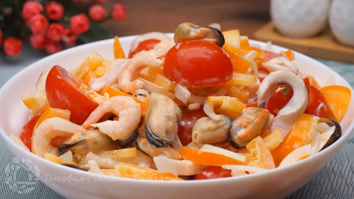 Шестым приготовим салат с морепродуктами Чудо Чудное. Салат получается очень вкусным, необычным и легким, а готовится буквально 10-15 минут.