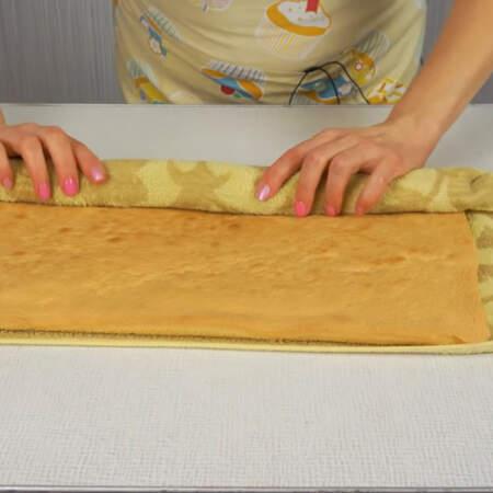 Заранее намоченное и хорошо отжатое полотенце кладем на стол, а сверху на него бисквит.  Бисквит вместе с полотенцем сворачиваем в рулет.
