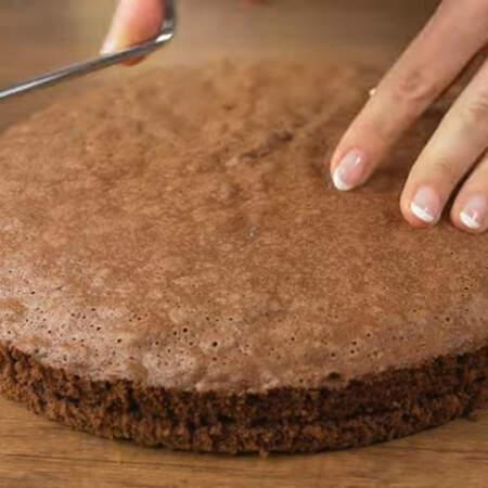 Разрезаем бисквит на 2 примерно одинаковых коржа.
