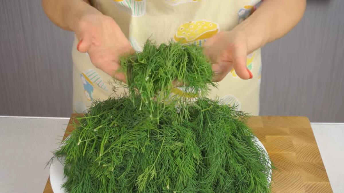 Второй способ заготовки укропа - засолка.  Засолить укроп очень просто. Сначала укроп нужно промыть в проточной воде, положить его на полотенце и дать высохнуть в течение 2-3 часов. Просушенный укроп мелко рубим.  На 1 кг рубленного укропа берется 1 кг поваренной соли. Укроп с солью нужно перетереть, сложить в чистые сухие банки и закрыть крышкой.  Засоленный укроп хранится в холодном месте - в холодильнике или подвале.