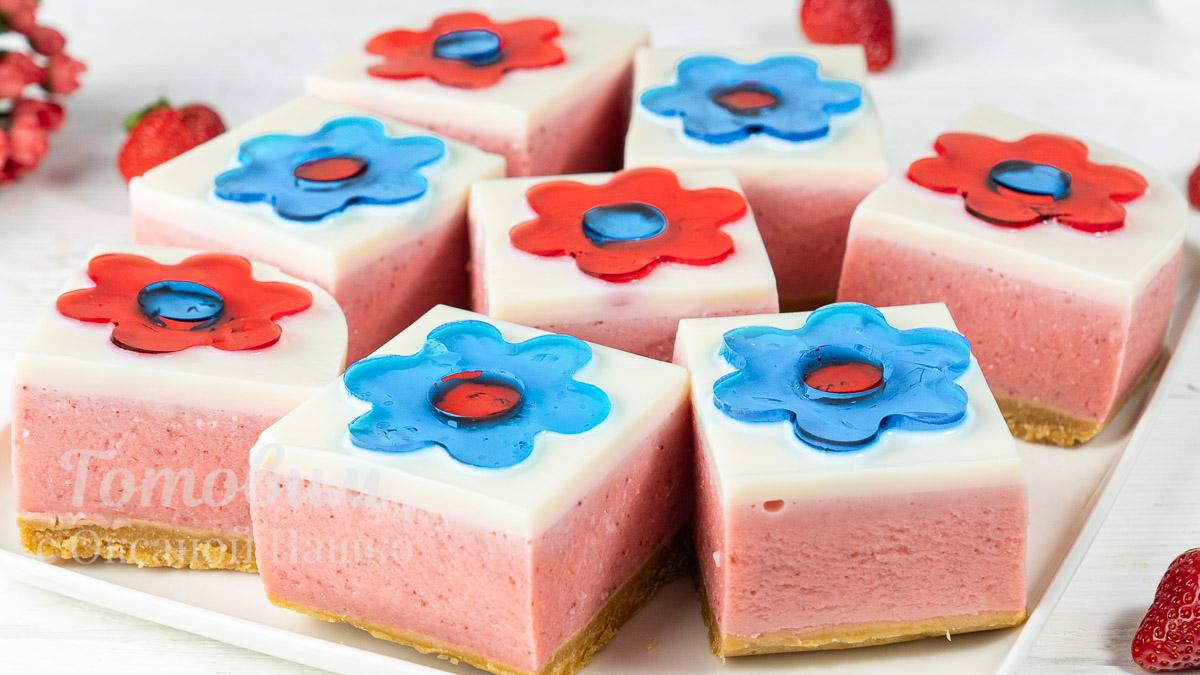Клубничный Торт с Цветами без Выпечки