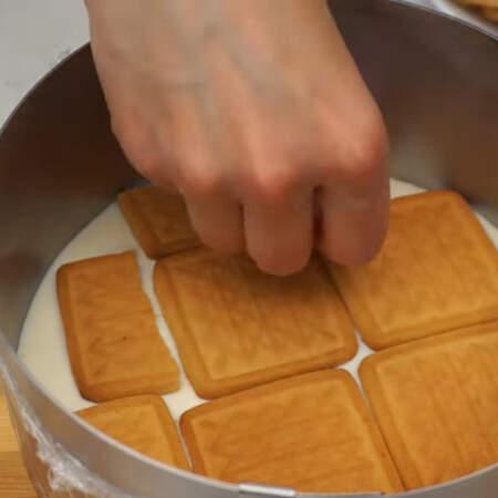 На него кладем слой песочного печенья. Всего понадобится примерно 200 г печенья.