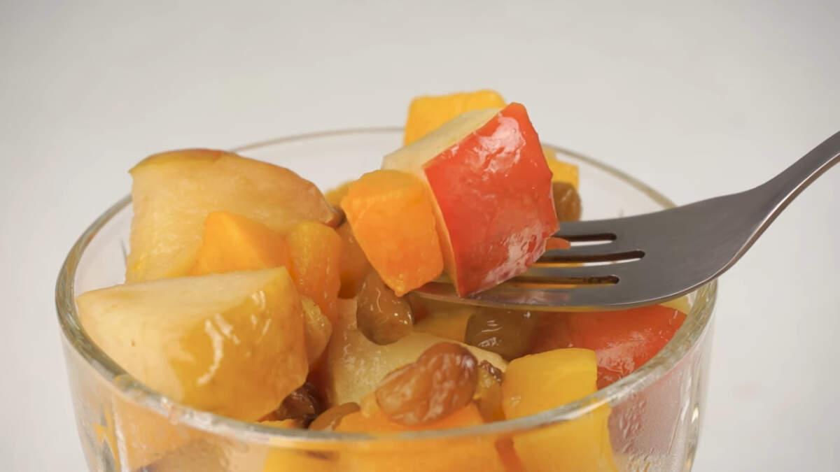 Десерт получился очень вкусный. Сладкий вкус тыквы и изюма в сочетании с кисло-сладкими яблоками дает умопомрачительный результат. Всем рекомендую его приготовить.