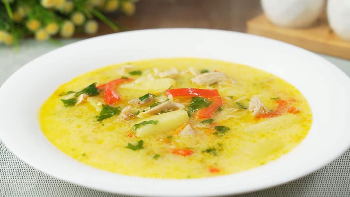 Суп готов, можно подавать на стол. Куриный суп со сметаной заправкой получился очень вкусный, ароматный и сытный.  Овощи и зелень придают супу яркие краски, а вермишель, картофель и мясо делают его наваристым. Сметанная заправка придает этому блюду нежный сливочный вкус и цвет. Обязательно его приготовьте.